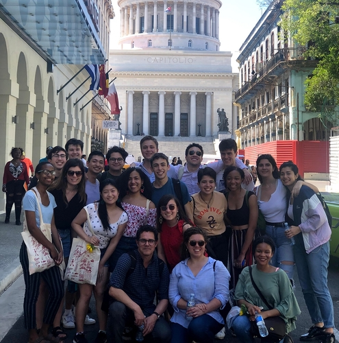 Students and faculty in front of the Capitolio in Havana. (Photo by Daniel Juarez)