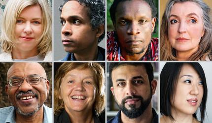 Top row, left to right: Danielle McLaughlin, David Chariandy, Ishion Hutchinson, Rebecca Solnit. Bottom row: Kwame Dawes, Patricia Cornelius, Raghu Karnad, Young Jean Lee.