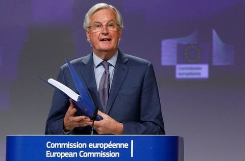 Michel Barnier, the EU's chief negotiator for the future relationship with the UK, speaking after the conclusion of the second round of negotiations on April 24.