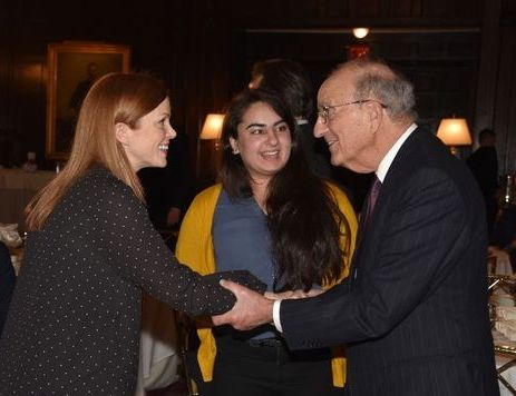 """From left: Bonnie Weir, Hira Jafri, and Senator George Mitchell at the """"Understanding Brexit"""" Conference organized by Irish Central in New York City. Photo credit: Nuala Purcell"""