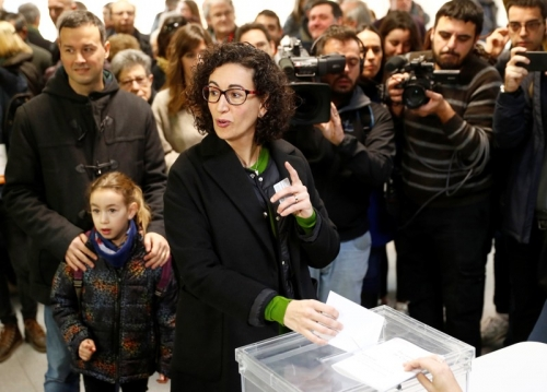 Marta Rovira, leader of the Republican Left, voting on Dec. 21.