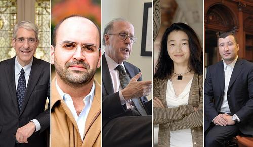 """""""China 2049 — New Era or New Threat"""" will feature panelists (left to right) Peter Salovey, Nuno Monteiro, Stephen Roach, Jing Tsu, and Aleh Tsyvinski."""