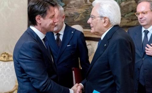 Italy, June 1: President Sergio Mattarella congratulates Prime Minister Giuseppe Conte.