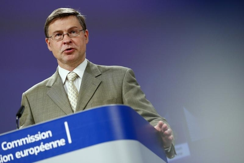 """EU Commission Executive Vice President Valdis Dombrovskis announcing """"escape clause"""" for EU fiscal rules will remain in effect until 2023."""