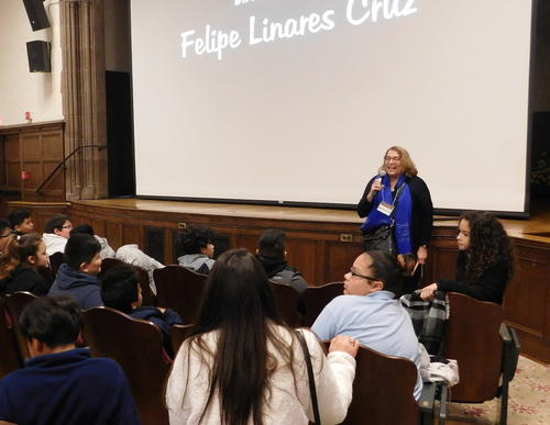 Margherita Tortora, executive director and founder of LIFFY, introduces the film to the student audience.