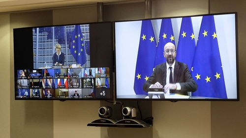 European Commission President Ursula von der Leyen, EU leaders and European Council President Charles Michel in today's video conference.