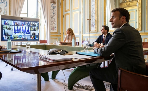 French President Emmanuel Macron in yesterday's European Council videoconference.
