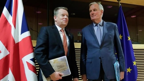 David Frost and Michel Barnier at the start of the UK-EU negotiation, Brussels, March 2020.
