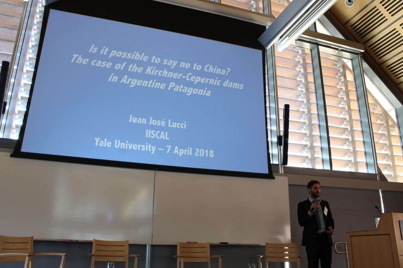 Juan Lucci, researcher at the Bank Information Center's China-Latin America Sustainable Investments Initiative, gave an eye-opening presentation about the current trends of Chinese investments in Latin America, using a case study about hydropower infrastructure in Argentina.