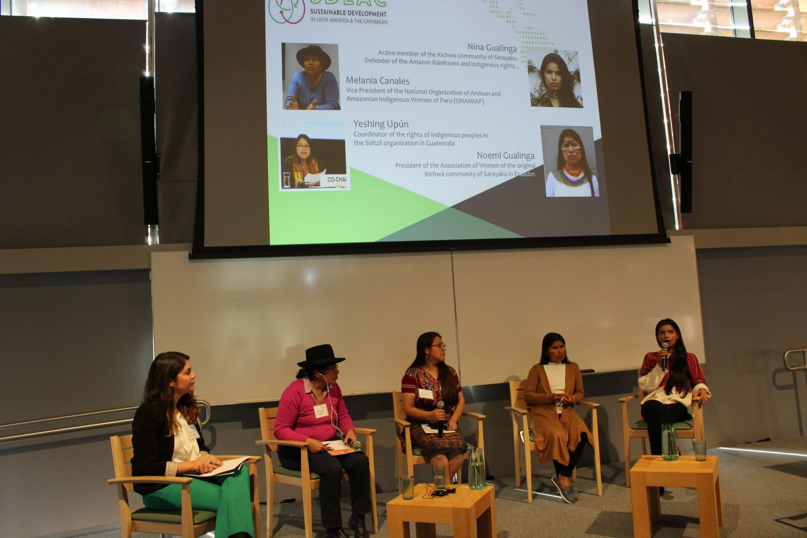 All the speakers of Panel 3 came together in a conversation about female indigenous identities and empowerment, facilitated by Anna Carcamo (MEM '19).