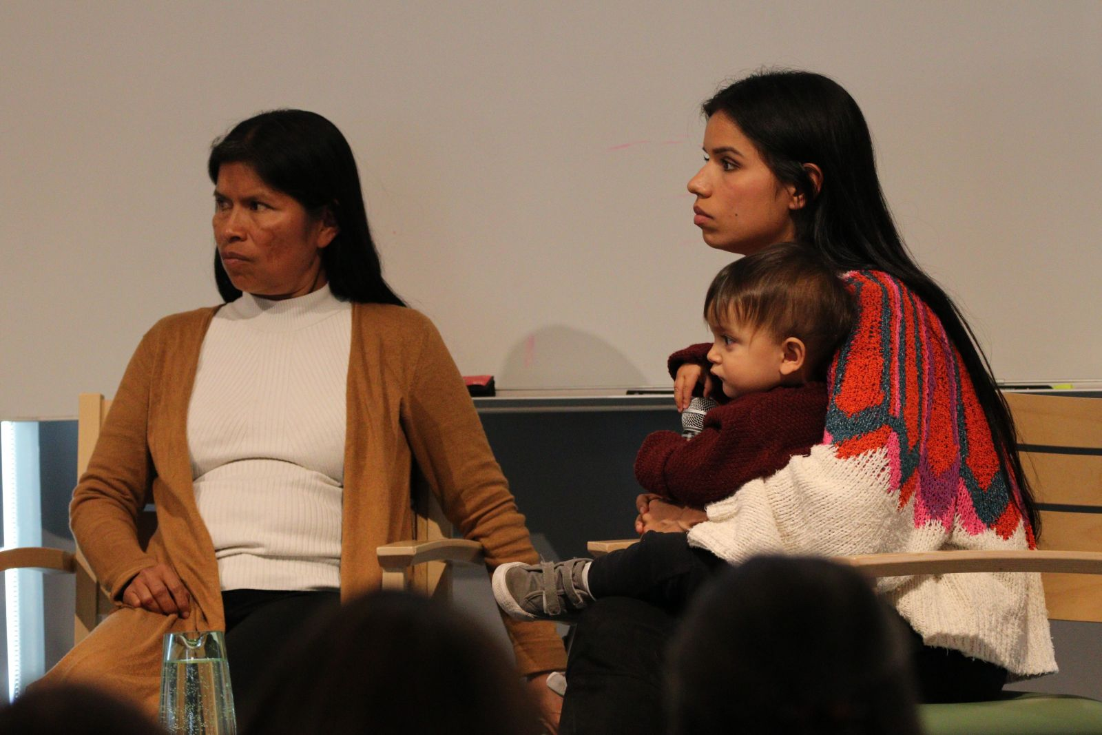Noemi and Nina Gualinga, leaders from the Kichwa Sarayaku Community in the Ecuatorian Amazon, shared their insights on political representation of indigenous women in their country. Here they are pictured with Nina's son, Tiam.