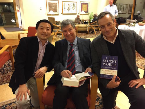 "Christopher Andrew (middle) signing copies of his new book ""The Secret World: A History of Intelligence"" on which his lectures were based."