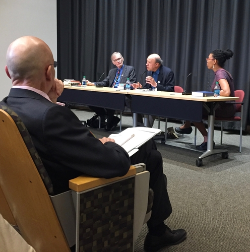 Professors Blight, Stepto, and Feimster discuss Douglass while Professor Shapiro looks on from audience.