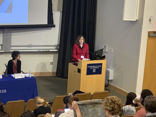 Marcia C. Inhorn, CMES Chair and William K. Lanman Jr. Professor of Anthropology and International Affairs, addresses conference attendees.