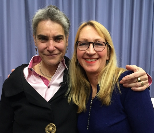 Sarah Chayes (left) with Professor of Political Science Frances Rosenbluth