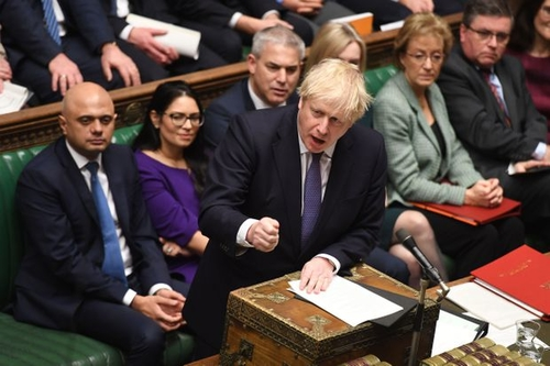 British Prime Minister Boris Johnson speaking in the House of Commons Friday in support of the revised EU Withdrawal Agreement Bill.