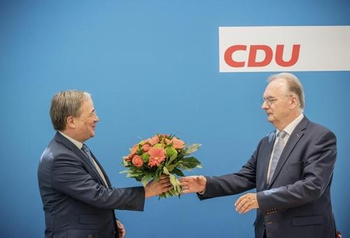 CDU chair Armin Laschet congratulating Saxony-Anhalt CDU leader Reiner Haseloff at today's meeting of the CDU Executive Committee in Berlin.