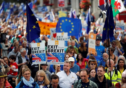 "Some of the 700,000 who marched in London Saturday against Brexit and for a ""People's Vote."""