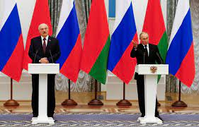 Belarusian President Alexander Lukashenko and Russian President Vladimir Putin after agreeing on programs for Union State, Moscow, September 9.