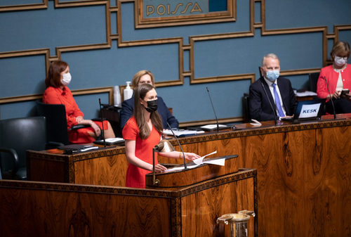 Finnish Prime Minister Sanna Marin speaking to the parliament Tuesday after it approved the financing arrangement for the EU's recovery plan.