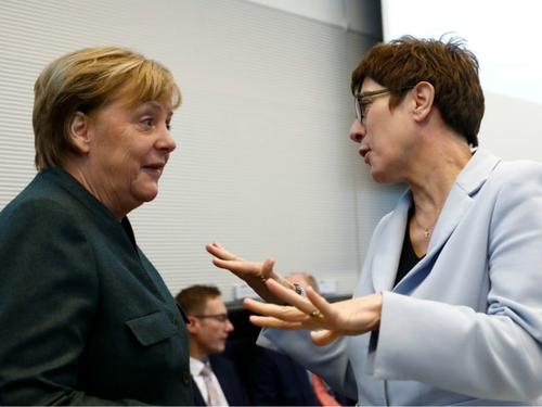 German Chancellor Angela Merkel and CDU chair Annegret Kramp-Karrenbauer at Feb. 11 meeting of CDU Bundestag group.
