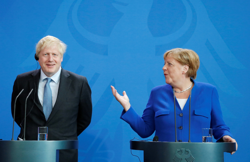 Prime Minister Boris Johnson and Chancellor Angela Merkel after their meeting in Berlin last Wednesday.