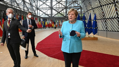 German Chancellor Angela Merkel arriving at last Thursday's European Council meeting—the last of the 105 she has attended since becoming chancellor in 2005.