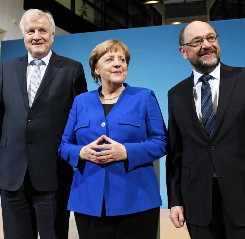 German party leaders announce agreement to form coalition government. From left: Horst Seehofer, CSU; Angela Merkel, CDU; and Martin Schulz, SPD.