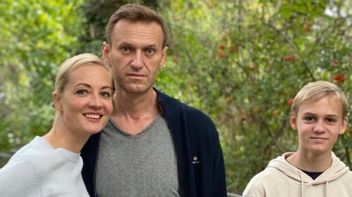 Alexei Navalny with Yulia and their son Zakhar as he recovers in Berlin from the poisoning.