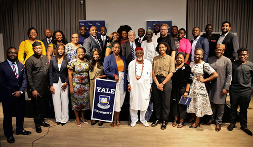President Salovey during his trip to Nigeria, pictured with members of the Yale Club of Nigeria (including the club's president, Haroun Adamu '70, and vice president, Lawrence Fubara Anga '80), at an event January 17, 2020 in Lagos.