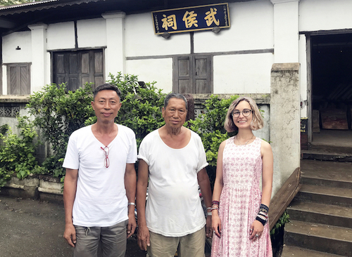 Arina Mikhalevskaya, a Ph.D. Candidate in Yale's History Department, conducting an interview at the Zhuge Liang Temple. Bhamo, northwestern Myanmar, July 2019