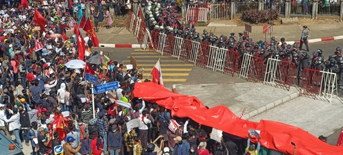 Protesters rally against the military coup in Yangon, Myanmar, Feb. 9, 2021 - From Wiki Commons, courtesy  Voice of America
