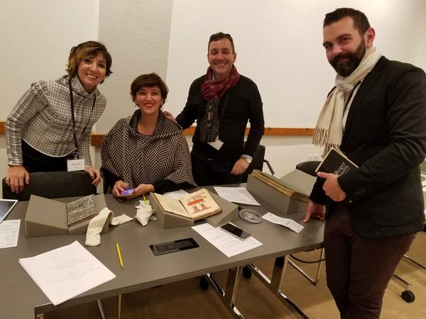 Scholars Pinar Gnepp (NYU), Nadia Ali (NYU), Simon Rettig (Freer/Sackler Gallery), and Michael Chagnon (Japan Society) examine some of Yale's Islamic manuscripts on view at the Beinecke during the conference.