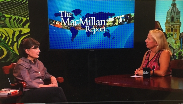 Alice Kaplan and Marilyn Wilkes on the set of The MacMillan Report.