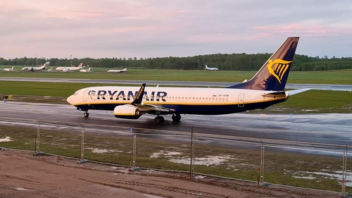 Ryanair flight from Athens arriving in Vilnius, Lithuania after forced landing in Minsk, Belarus.