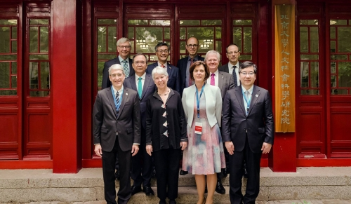 President Peter Salovey (front row, left) at the the 13th annual International Alliance of Research Universities Presidents' Meeting at Peking University. The annual meeting of IARU Presidents and Senior Officers coincided with PKU's 120th anniversary celebration. (Photo credit: International Alliance of Research Universities via Facebook)