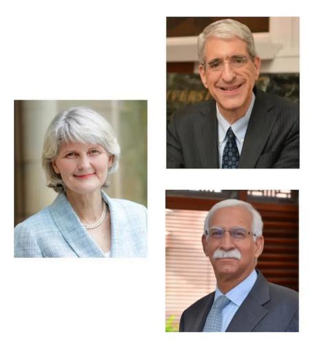 (top right) Peter Salovey, President, Yale University; (left) Elizabeth Bradley, President, Vassar College; and (bottom right) Firoz Rasul, President, Aga Khan University