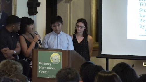 """Students from Professor Joseph Yannielli's class """"Runaways, Rebels, Wenches & Rogues"""" present their work on Runaway New England, the course's website documenting runaway slave advertisements in New England newspapers. From left: Melvin Rouse, YC 2021; Ry Walker, YC 2020; James Lin, YC 2019; and Kendall Schmidt, YC 2019."""