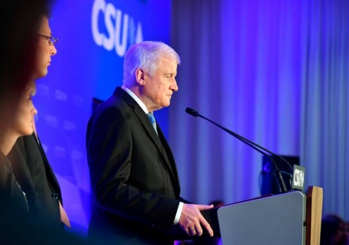 Horst Seehofer, the leader of Bavaria's Christian Social Union and Minister of the Interior in the German government, reacting to the exit polls after Sunday's election.