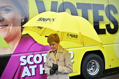 Nicola Sturgeon, First Minister of Scotland and leader of the Scottish National Party, campaigning prior to Thursday's election.