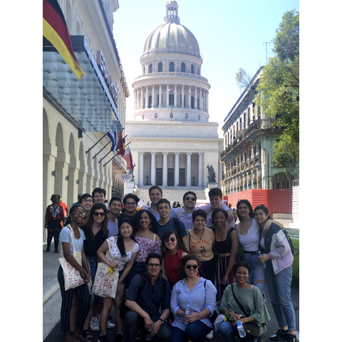 Students andFaculty in front of the Capitolio in Havana (Photo by Daniel Juarez)