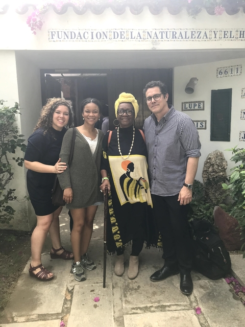 Professor Norma Guillard with T.F. Alison Kibbe, student Farah Emory-Muhammed, and Professor Reinaldo Funes outside the Fundación Antonio Jiménez. (Photo by Daniel Juarez)