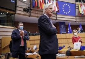 Michel Barnier, the EU's chief negotiator, at the European Parliament Tuesday as it voted to approve the EU-UK Trade and Cooperation Agreement.
