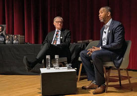 David Blight (left) and Ta-Nahesi Coates on stage at the Yale University Art Gallery. (Photo credit: Daniel Vieira)