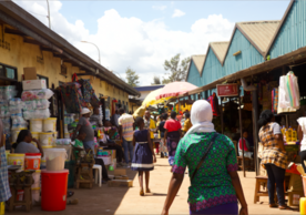 Visiting the market in Kigali.