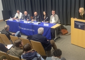 Seated from left: Samuel Kortum, Paul Kennedy, Ian Shapiro, Jing Tsu, and Arne Westad. Frances Rosenbluth moderated the discussion from the podium.