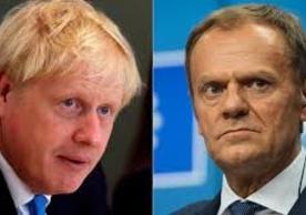 British Prime Minister Boris Johnson and European Council President Donald Tusk.