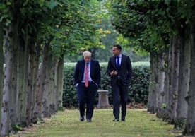 British Prime Minister Boris Johnson and Irish Taoiseach Leo Varadkar discussing the backstop at Wirral last Thursday.