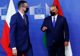 Polish Prime Minister Mateusz Morawiecki and Hungarian Prime Minister Viktor Orbán at the EU.