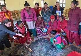 Community members consult with paper co-authors in Janaury 2020 on land use changes and emergent hazards in Dolakha, Nepal.